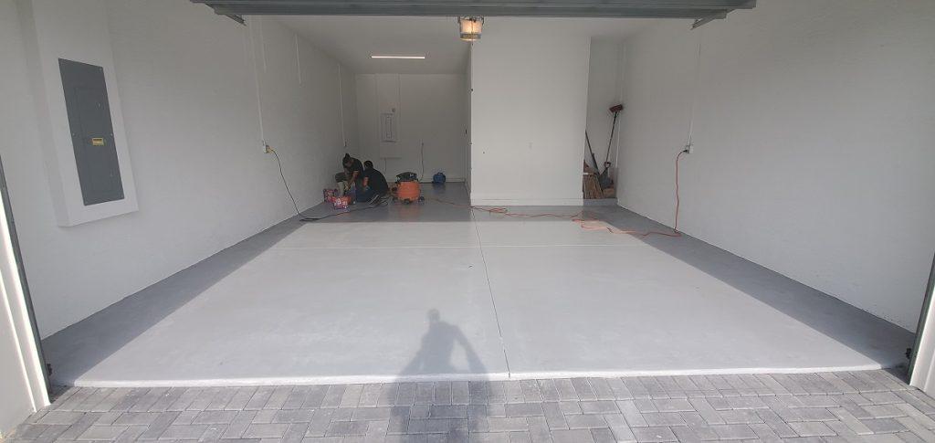Garage floore before epoxy flake installation.