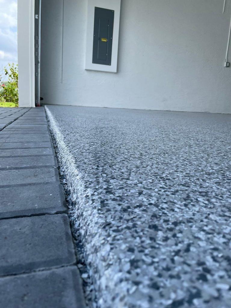 Epoxy garage floor edge, Westlake Florida.