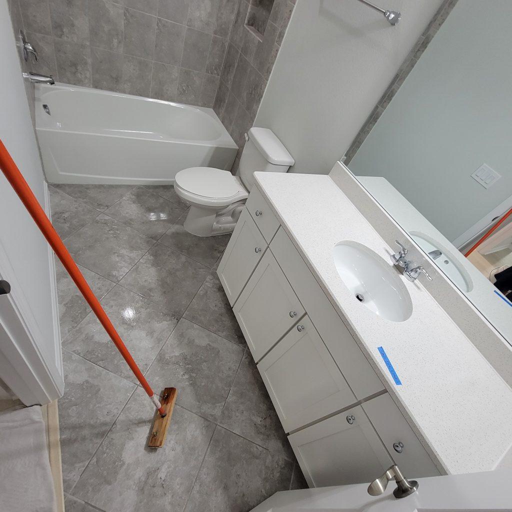 Anti slip on bathroom tiles.