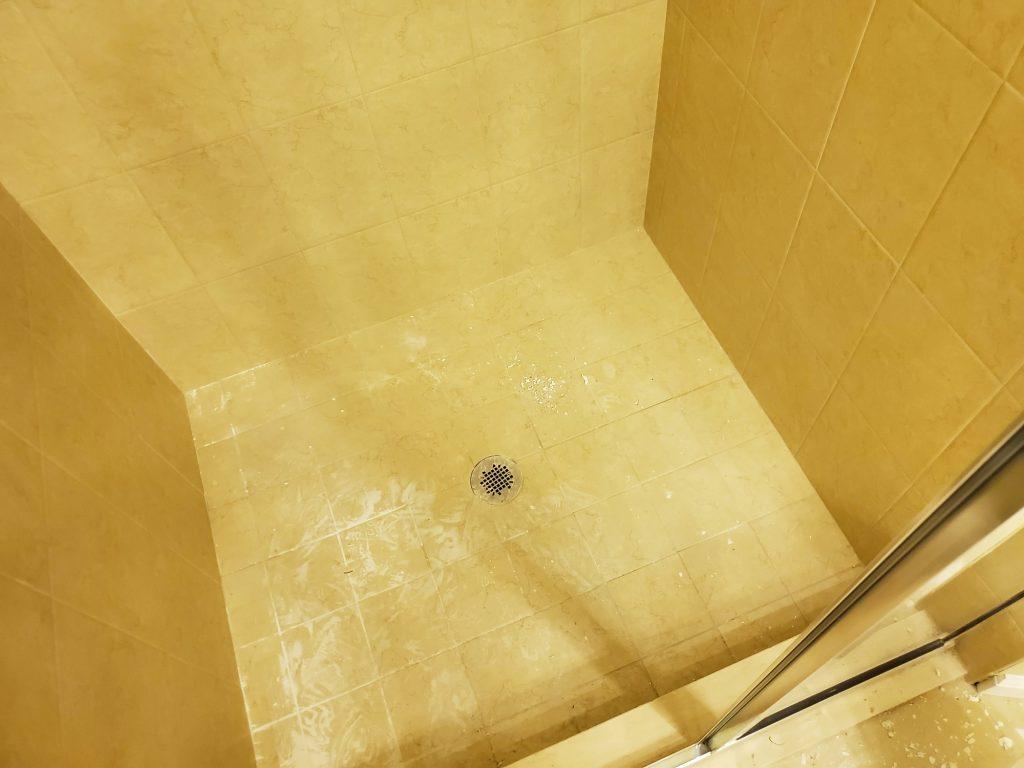 Slippery tile in shower.